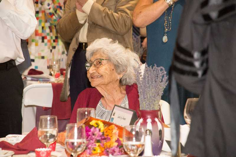 SUBMITTED PHOTO - Dr. Virginia Beavert, of the Yakama Nation, is honored with a Lifetime Achievement Award during the Museum at Warm Springs' Huckleberry Harvest annual event, held at the High Desert Museum.