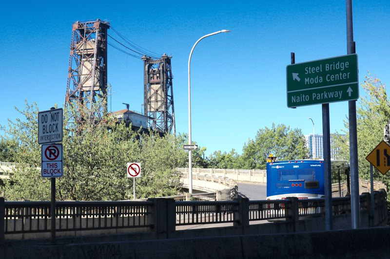 PMG PHOTO: ZANE SPARLING - The 107-year-old Steel Bridge is owned by Union Pacific railroad, though its upper deck is shared by TriMet buses, MAX trains and general auto traffic.