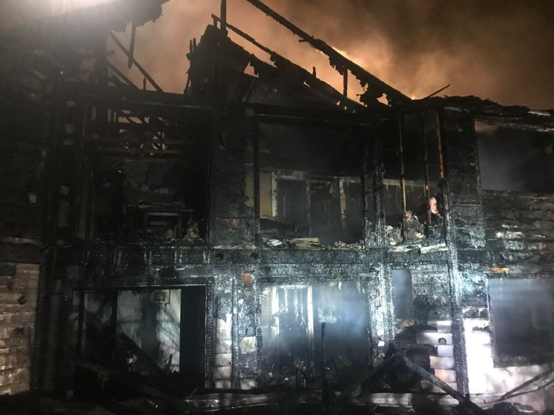 COURTESY PHOTO: TUALATIN VALLEY FIRE & RESCUE - This fourplex in the Highland neighborhood of Beaverton was gutted by an early-morning fire Thursday, Aug. 29.