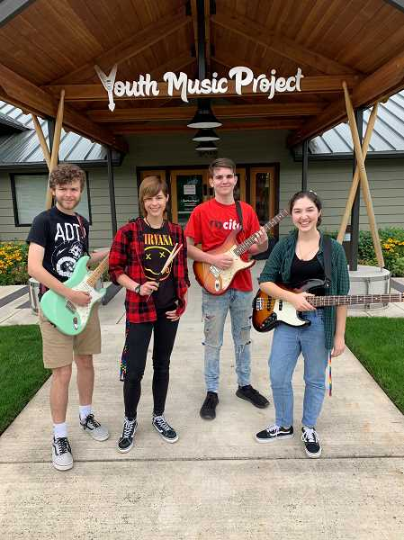 COURTESY PHOTO - YMP's Intern Band members Nick Boatman, left, Jeydon Griffiths, Morgan Robertson and Sydney Steinberg.