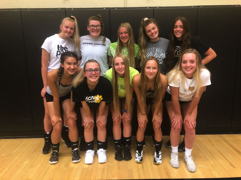 PMG PHOTO: STEVE BRANDON - Varsity mainstays for the 2019 St. Helens Lions are (front row, from left) Kasten Warner, Jasmyne Pense, Izy Wallace, Dessa Cooper and Brea Paulson and (back row, from left) Jean Gartman, Brynn Austin, Savannah Moore, McKenna Miller and Karlee Webster.