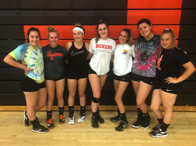 PMG PHOTO: STEVE BRANDON - Returning to the Scappoose varsity in volleyball are (from left) Abbie Sanger, Sophi Hering, Vivian Irving, Darci DeTroy, Angelina Seberger, Sophia Johanson-Phillips and Samantha Scott.