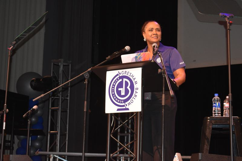 PMG PHOTO: TERESA CARSON - Superintendent Katrise Perera addressed the more than 1,100 educators that gathered for the 2019 convocation.