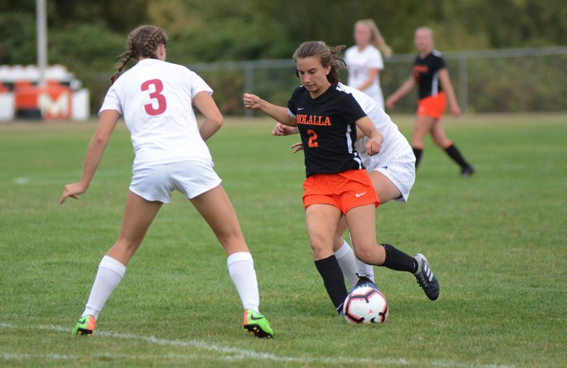 PMG PHOTO: DEREK WILEY - Molalla junior Holly Rae scored two goals Thursday against North Valley.