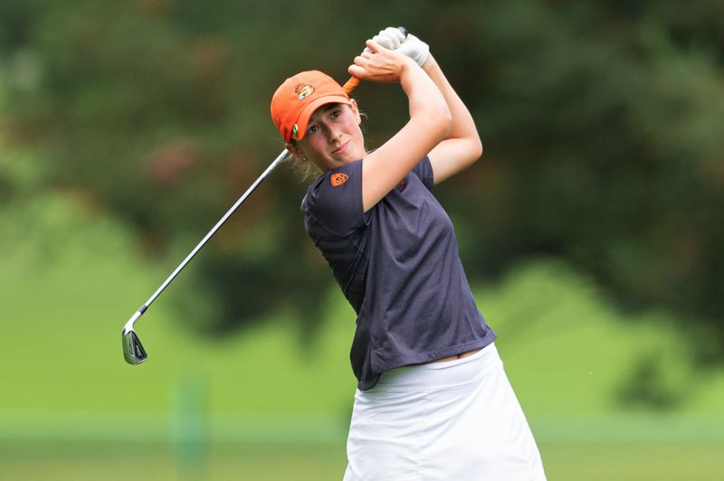 PMG PHOTO: CHRISTOPHER OERTELL - Ellie Slama of Oregon State follows an approach shot Thursday at Columbia Edgewater Country Club, where she shot a 4-under-par 68 in the first round of the LPGA Cambia Portland Classic.