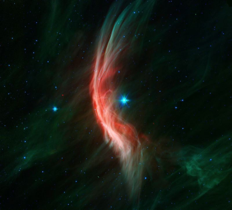COURTESY PHOTO: NASA - Pictured here is Zeta Ophiuchi, The Runaway Star, as photographed by NASA's Infrared Spitzer Space telescope. It is moving towards the left at 24 kilometers per second.