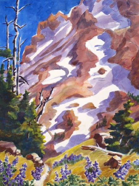 COURTESY PHOTO - Susan Spears says that only by working outside could she have made this painting of lupine on Mount Hood.