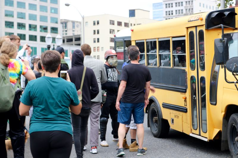 PMG PHOTO: ZANE SPARLING  - The bus attack during the Saturday, Aug. 17 protests in Portland were caught on camera by the Tribune.