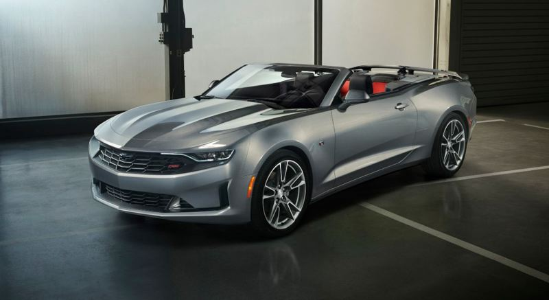 COURTESY CHEVY - The 2019 Camaro Convertible is offered in a wide array of trim levels, inclucing the RS (pictures) and the SS, which comes standard with a 6.2-liter V8 and 10-speed automatic transmission.