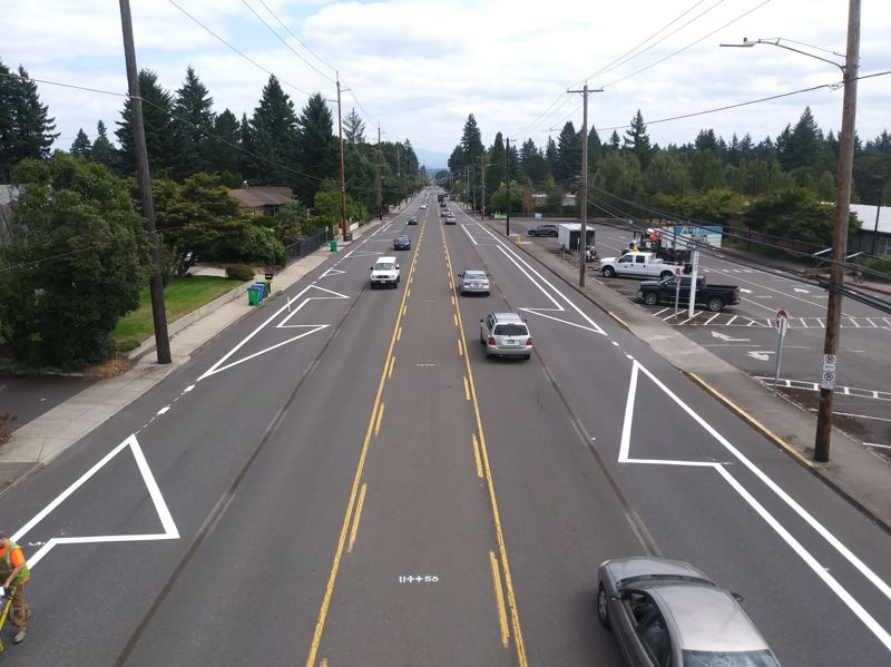 COURTESY PBOT - Construction work has begun on a lane-reduction project that has irked some in East Portland.