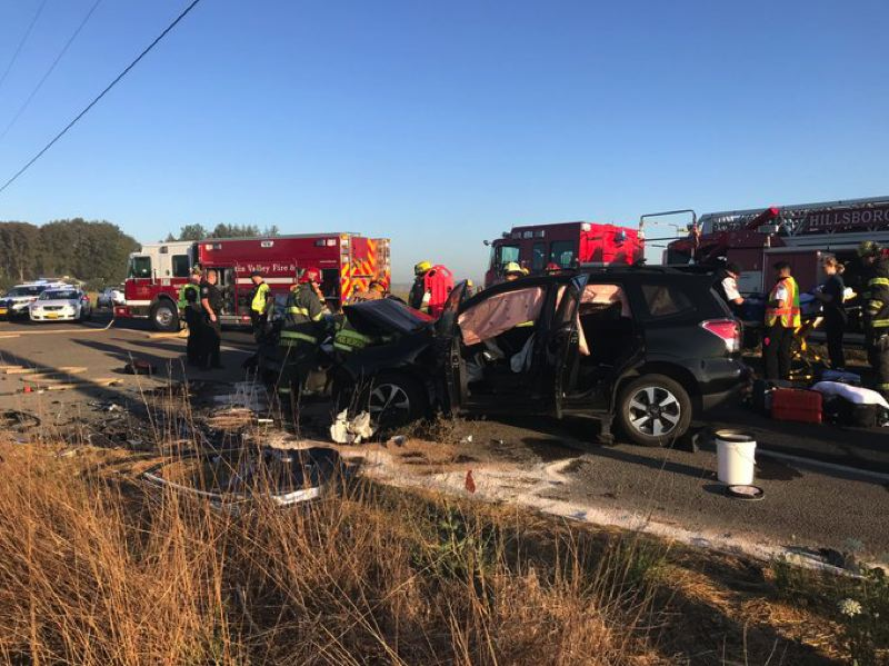 COURTESY PHOTO: TUALATIN VALLEY FIRE & RESCUE - A Subaru Forester collided with a Honda CR-V in a head-on crash Tuesday morning, Sept. 3, near the intersection of Northwest Zion Church and Glencoe roads.