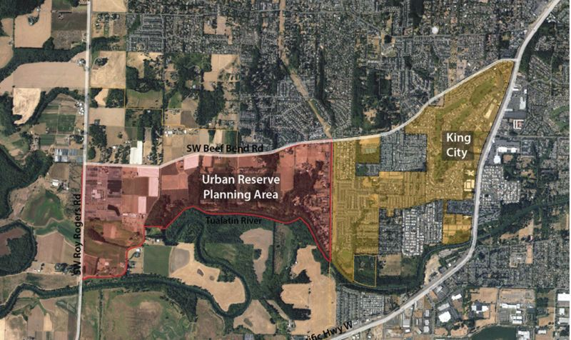 COURTESY MAP: CITY OF KING CITY - The red-shaded area west of King City was brought into Metro's urban growth boundary last year, a decision the Oregon Land Conservation and Development Commission recently affirmed is legal.