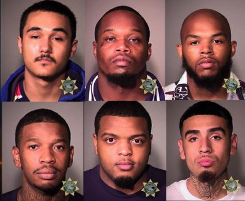 MULTNOMAH COUNTY SHERIFFS OFFICE - Those arrested include: (top row from left) Josiah Cormona, Aronte Kerney and Bennie London, and (bottom row) Erick Butler, Jaron Cuie and Eric Espiritu-villaneu.