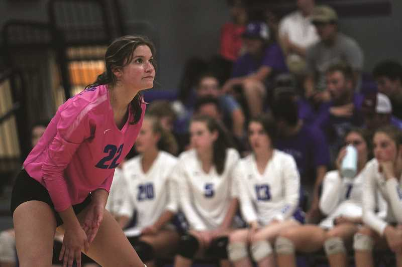 PMG PHOTO: PHIL HAWKINS - Libero Destiny Smith is one of six returning players from last years championship team eager to defend their title, and one of four seniors on the team including Erin Counts, Karlee Southerland and Isabelle Wyss.