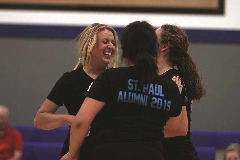 PMG PHOTO: PHIL HAWKINS - The annual alumni game has been the volleyball programs season-opening contest for the past six years, giving the Buckaroos an opportunity to begin the season with a festive spirit and celebrate past players.
