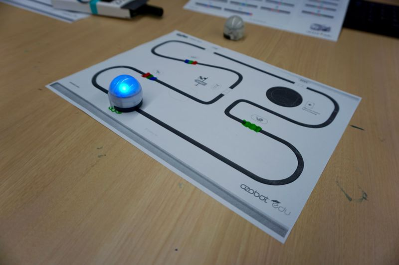 PMG PHOTO: CLAIRE HOLLEY - Ozobots at Hallinan Elementary, which are used for teaching an students an introduction to coding.