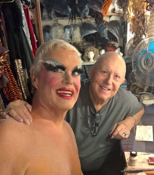 COURTESY PHOTO: TRIANGLE PRODUCTIONS - Actor Kevin C. Loomis (left) recently received a tutorial on applying makeup and being Darcelle from Walter Cole at the Darcelle XV Showplace. Loomis plays the legendary female impersonator in 'That's No Lady,' which stages starting Sept. 19 at Lincoln Performance Hall. Said Loomis:  'Walter will be there opening night, and you have to do him right.'
