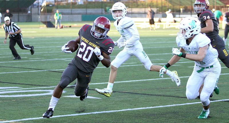 PMG PHOTO: MILES VANCE - Central Catholic's Elijah Elliott and the Rams kick off their 2019 season against West Linn for a second straight year, facing the Lions at West Linn High School at 7 p.m. Friday, Sept. 6.