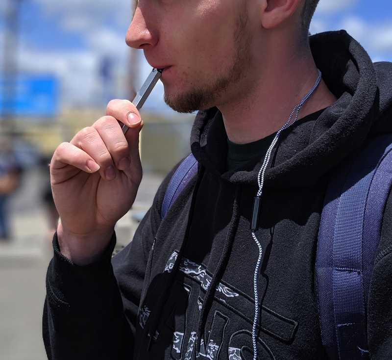 PMG PHOTO: COURTNEY VAUGHN - An Oregon resident died in July from lung illness likely after reporting the use of an e-cigarette or vaping device to use cannabis. E-cigarette use has been on the rise nationally, and federal health investigators say there are now over 200 cases of respiratory illness linked to vaping.