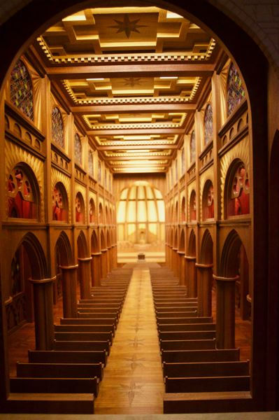 PMG PHOTO: CHRISTOPHER KEIZUR - Bruce Plumb built a miniature cathedral with forced perspective, so it looks much larger when you look inside.