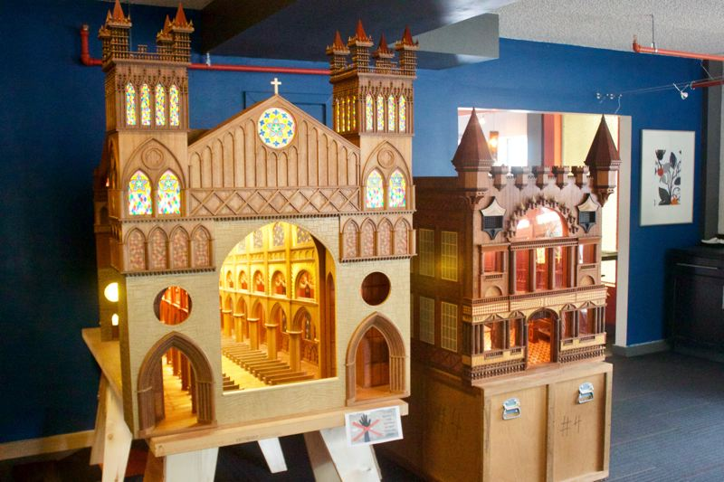 PMG PHOTO: CHRISTOPHER KEIZUR - Hue Architecture & Design in downtown Gresham was instrumental to bringing Bruce Plumbs pieces out east — displaying the Cathedral, left, and Throne Room along with seven other miniatures.