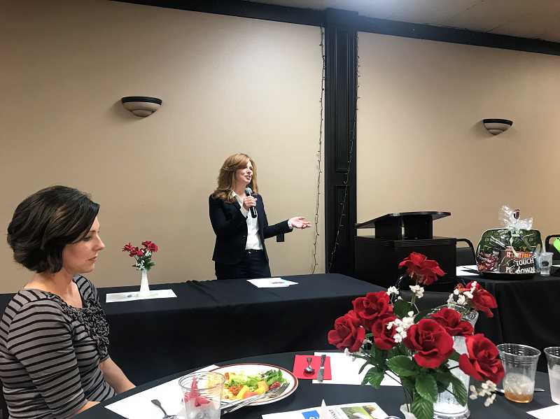 COURTESY PHOTO: JACOB VANDEVER - State Rep. Christine Drazan shares with a crowd of business leaders in Canby on Tuesday, sept. 3.