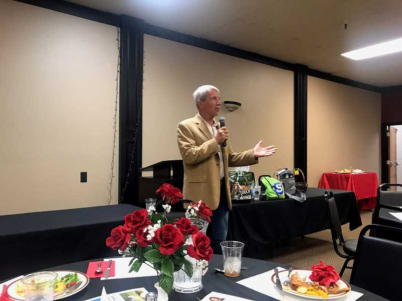 COURTESY PHOTO: JACOB VANDEVER - U.S. Rep. Kurt Schrader recaps the latest legislative session at a chamber lunch in Canby on Tuesday, sept. 3.
