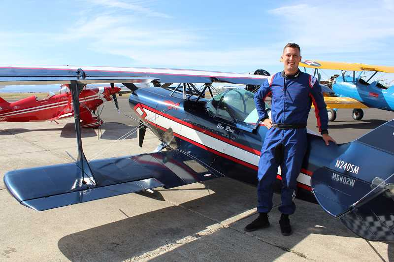 HOLLY M. GILL/MADRAS PIONEER - Ben Rose performed in his Pitts S-1S at the recent Airshow of the Cascades. Rose, 21, who earned his private pilot's license at age 16, was inspired to become an aerobatics pilot by visits to the Airshow of the Cascades as a child.