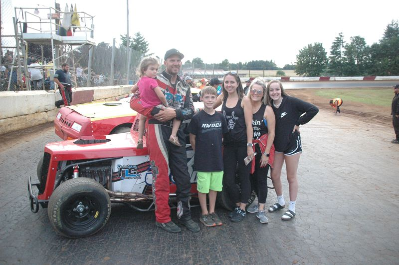 COURTESY PHOTO: MIKE WEBER - Jake VanOrtwick of Scappoose celebrates with his family after a race at River City Speedway in St. Helens.