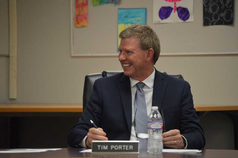 PMG PHOTO: NICOLE THILL-PACHECO - Timothy Porter, center, speaks with the Scappoose School District School board during a meeting over the summer. Porter was hired as the permanent superintendent to lead the school district earlier this year and will be the first permanent superintendent to lead the district since 2017.