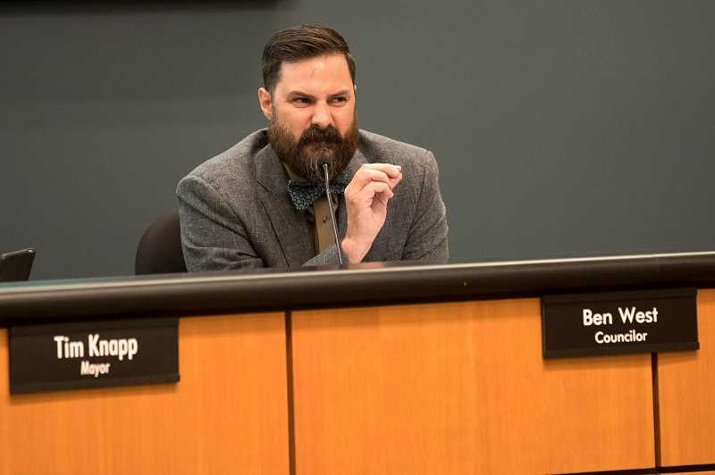 PMG PHOTO: JAIME VALDEZ - Wilsonville Councilor Ben West did not believe his fellow councilors gave John Budiao and Eric Postma enough consideration for the open seat.