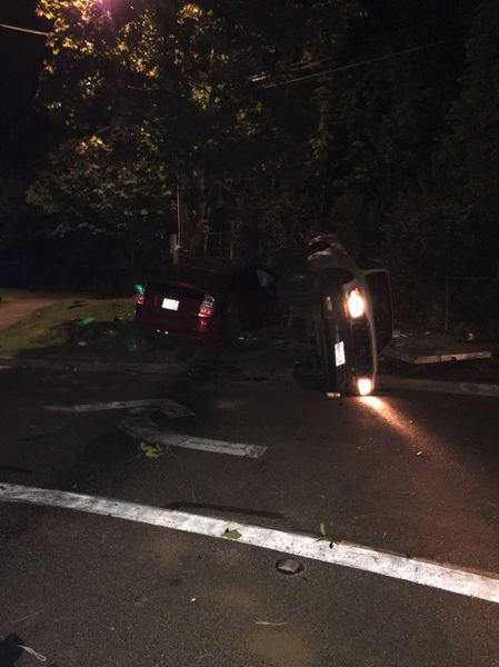 COURTESY PHOTO: FOREST GROVE POLICE DEPARTMENT - Two vehicles were involved in a crash that sent two people to the hospital and led to the arrest of a third Friday night, Sept. 6, near downtown Forest Grove.