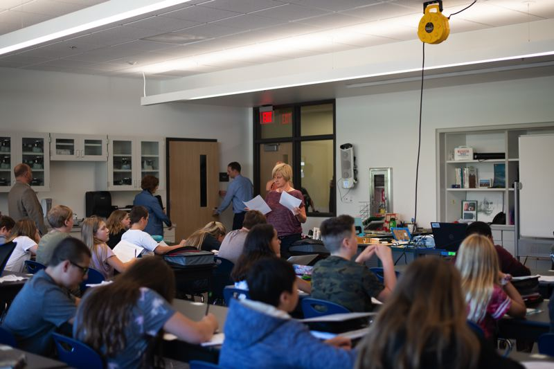 PMG PHOTO: ANNA DEL SAVIO - Classes started this week at St. Helens Middle School. The new building offers updated technology for teachers to use in lessons, dedicated wings for separate grades, and improved safety features.