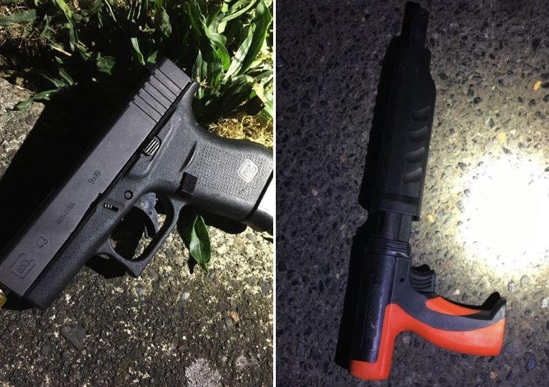 VIA PPB - Police say they confiscated a gun, left, and a concrete fastener tool during the arrest.