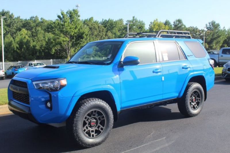 CONTRIBUTED TOYOTA - The 2019 Toyota 4Runner TRD Pro attracts attention everywhere it goes — especially in Voodoo Blue. But the exclusive oversized wheels, tires, and roof rack make it stand out, too.