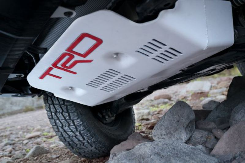 COURTESY TOYOTA - The TRD front skidplate is large enough to prevent serious danage during off-road adventures.