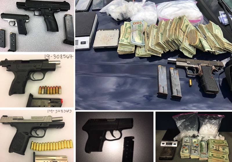 VIA PPB - Six guns were seized, as well as a large amount of drugs and $11,000 in cash, in a string of incidents on Portland streets.