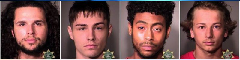 MULTNOMAH COUNTY SHERIFFS OFFICE - Right to left: Zachary Drazner, Cameron Toosovich, Marcus Bolicar, and Zachary Welter were arrested over the weekend for street racing.