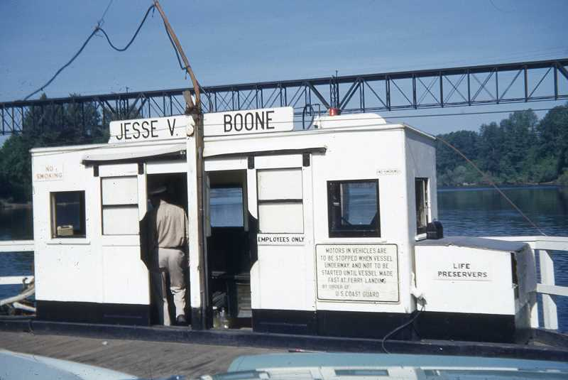 COURTESY PHOTO - The ferry boat used for decades in Wilsonville was named for Jesse Van Bibber Boone, a largely unknown contributor to local history.
