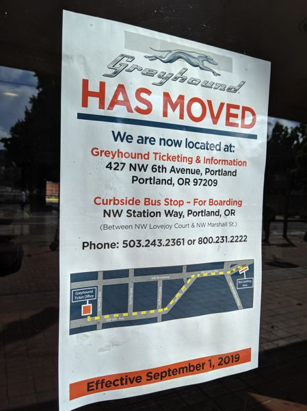 PAMPLIN MEDIA GROUP: JOSEPH GALLIVAN  - Portland's Greyhound bus station is now closed and up for sale as of Sept. 1. Ticketing and boarding have moved five blocks apart.