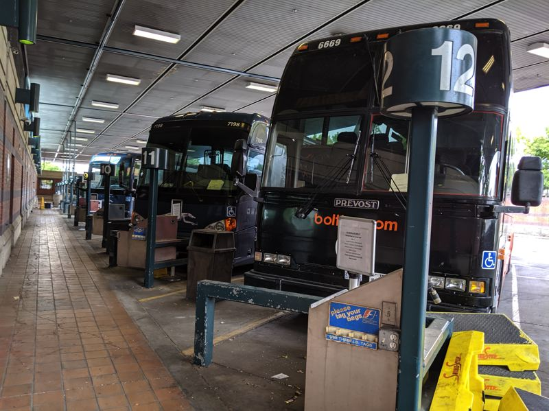 PAMPLIN MEDIA GROUP: JOSEPH GALLIVAN  - Portland's Greyhound bus station is now closed and up for sale as of Sept. 1. Busses still park in the lot however.