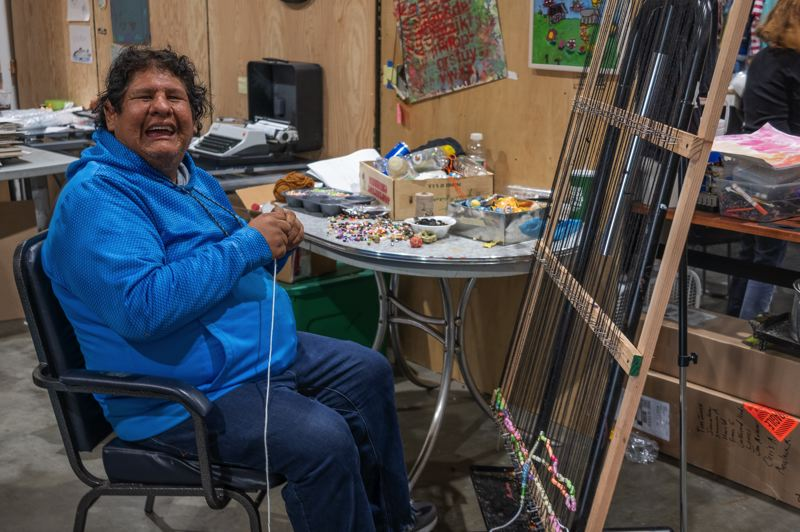 COURTESY PHOTO - One of the top artists at Albertina Kerr's Portland Art & Learning Studio is Ricky Bearghost, who works with garbage and beads. The center works with about 200 artists with developmental and intellectual disabilities.