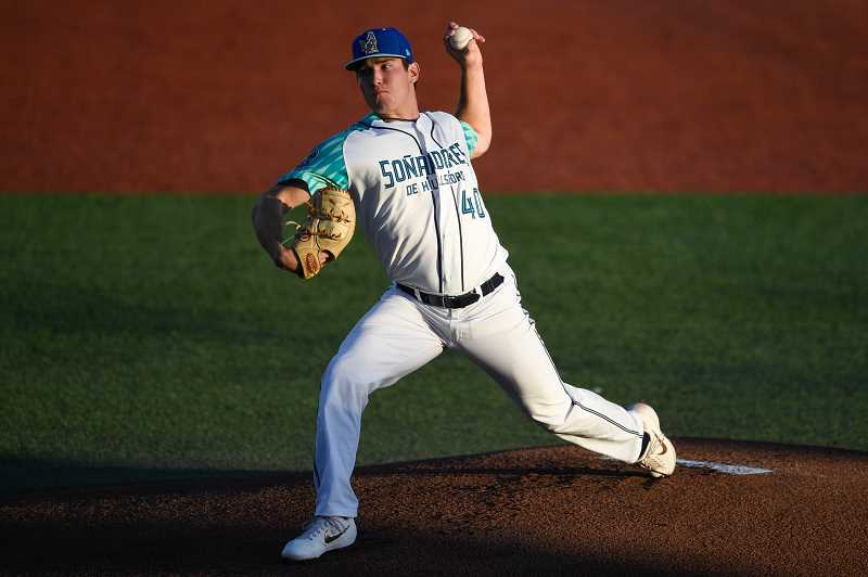 PMG PHOTO: CHRISTOPHER OERTELL - Hillsboro's Tyler Holton during Game 1 of last week's divisional round series with Salem-Keizer. Holton was again brilliant in the Hops' Game 3 win over Tri-City in the NWL Championship Series, Sept. 9, in Pasco, WA.