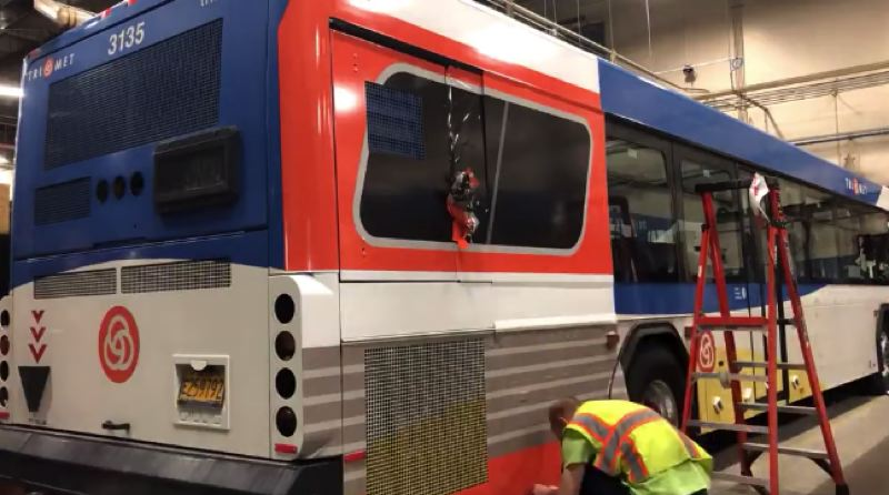 KOIN 6 NEWS - One of four special TriMet buses that will be at Pioneer Courthouse Square.