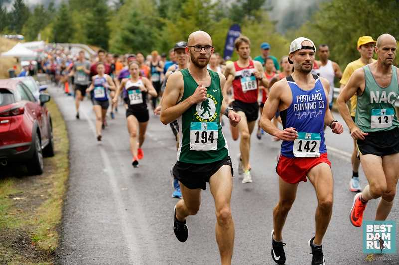 COURTESY PHOTO: OREGON ROAD RUNNERS CLUB - Runners strive to reach the finish line during the 2018 Best Dam Run.