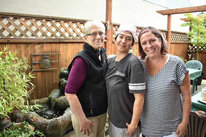 PMG PHOTO: EMILY LINDSTRAND - After multiple decades at the helm of Harmony Baking Company, owner Linda Lawrence and chef Sandy Walker will retire at the end of this year. Lawrence's niece Jenny Beaudoin and her husband Corey will purchase the longtime Estacada establishment.