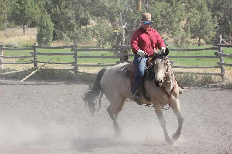 DESIREE BERGSTROM/MADRAS PIONEER - Kitty Lauman continuously asks the horse to perform turns and other exercises to get the horse out of a playing mentality and ready to learn. Lauman said it's a way of talking her out of wanting to play and instead making her pay attention to what Lauman is asking of her.