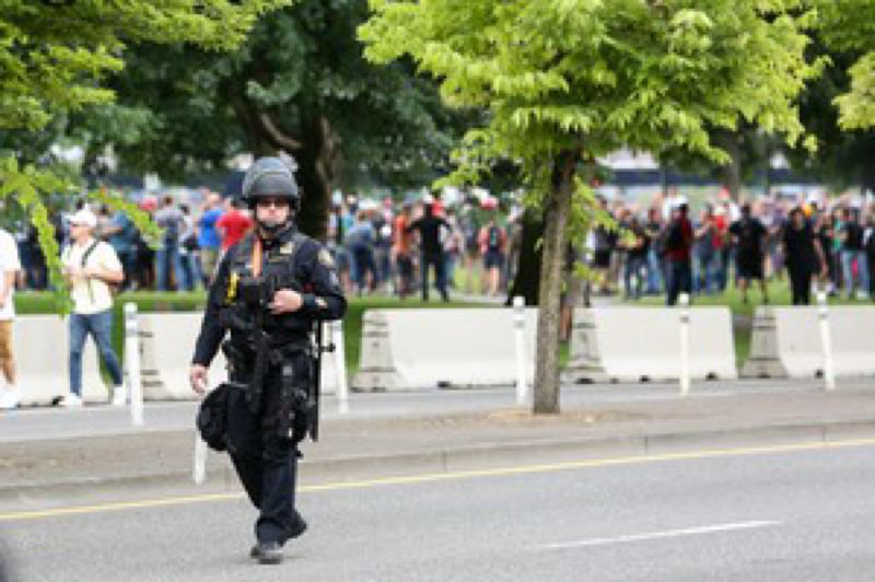 COURTESY OPB - A Portland police officer at a protest.