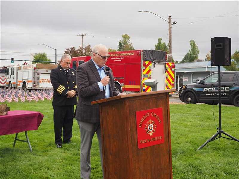 PMG PHOTO: MAX EGENER - Forest Grove Mayor Peter Truax speaks at a Sept. 11 memorial ceremony on Wednesday.