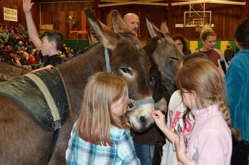 PMG FILE PHOTO - Kids get close to meet the donkey athletes at the booster's 2018 Donkey Basketball event.